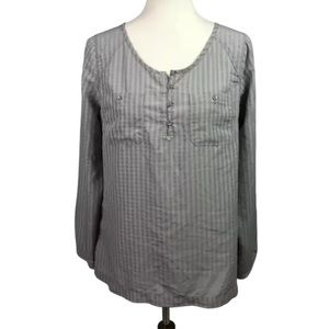Eddie Bauer Plaid Popover Tunic Top Gray Size M